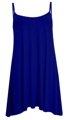 New Womens Plus Size Cami Strappy Sleevless Long Swing Top Mini Dress 8-22 ( Navy , UK 8-10 / EU 36-38 )