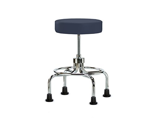 Perch Rolling Retro Exam Stool with Stationary Caps, Imperial Blue Vinyl (Lift Spin Stool)