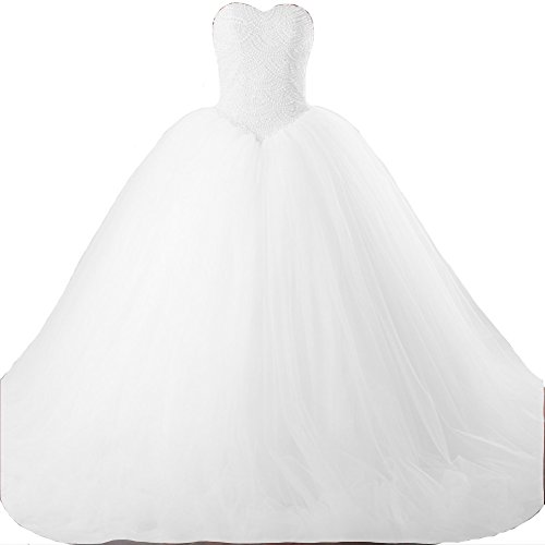 Corset Long Gown (Kivary Sweetheart Pearls Long Ball Gown Tulle Corset Prom Wedding Dresses White US 8)