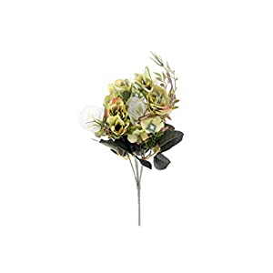 crystal004 Fake Roses Artificial Flowers Bouquet Hydrangea Gypsophila Leaf Accessories for Christmas Home Wedding Decoration,Green 34