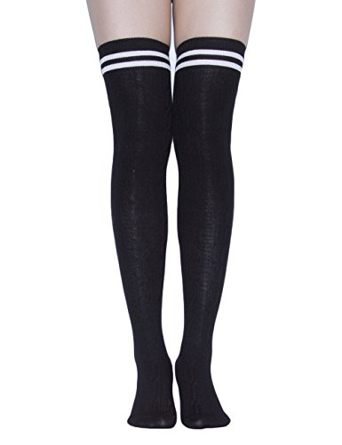 Varsity Dance Costumes - TooPhoto Over Knee Socks Thigh High Stockings Tube Cotton Women Dresses Campus A1 Black