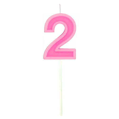 Wuinio Multicolor Happy Birthday Numeral Candles Number 2 Cake Cupcake Topper Decoration for Adults/Kids Theme Party/Wedding/Memorial Day -Pink Number 2 -
