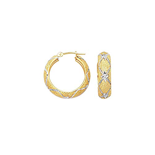 10k Yellow White Gold 6.0mm Shiny Sparkle-Cut Textured Hoop Earrings Diamond Pattern Hinged Clasp