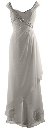 Formal Dress Gown Low Neck Bride V Chiffon Elegant Silber MACloth High Mother of Maxi qwfPAP
