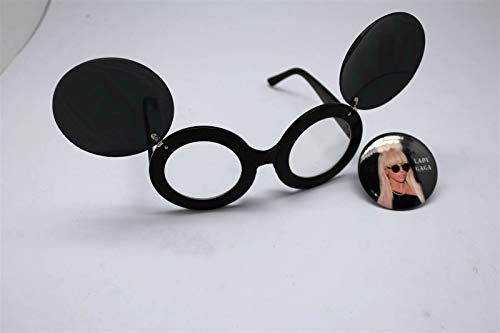 Button Pin of Lady Gaga Wearing Mouse Ear Flip Up Minnie Clear Lens Sunglasses #LU01 (Flip Gaga Sunglasses Up Lady)