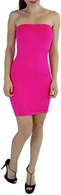 ToBeInStyle Women's Microfiber Seamless Strapless Stretchy Mini Tube Slip Dress
