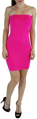 Microfiber Womens Dress - ToBeInStyle Women's Microfiber Seamless Strapless Stretchy Mini Tube Slip Dress - Pink - One Size