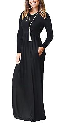 Viishow Women's Long Sleeve Loose Plain Maxi Dresses Casual Long Dresses with Pockets