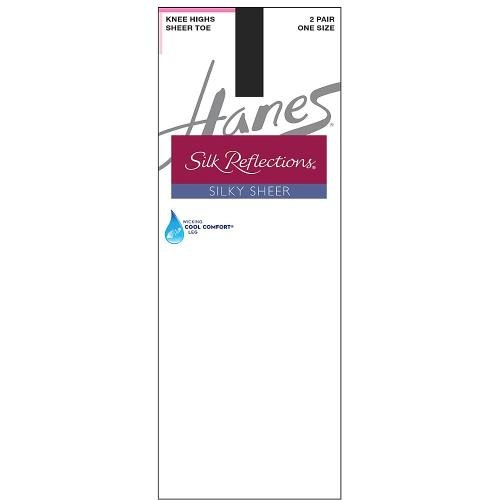 Hanes Silk Reflections Women's 2-Pack Knee High Sandalfoot, Jet, One Size