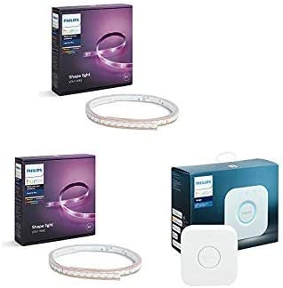 2 Philips Hue White and Color Ambiance LightStrip Plus Philips Hue Smart Hub Compatible