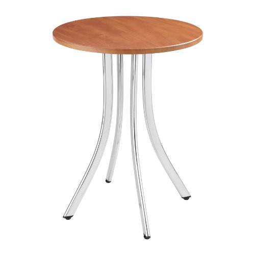 Safco Products 5099CY Decori Wood Side Table, Tall Legs, Chrome Frame/Cherry Top (End Table Wood Safco)