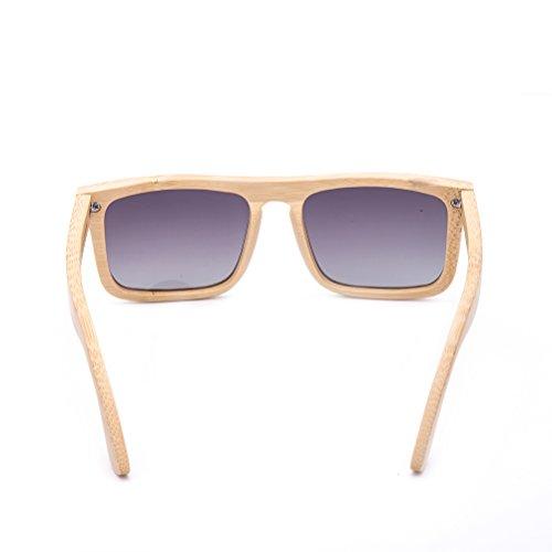 Gafas 4 Estuche A Con UV400 Bambú Cuadrados Hechas De Pieza 1 Polarizadas Mujeres De Gafas Sol Y De Hombres Para Retro Mano 18Bx65q