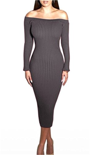 Slash Neck Sexy Club Women Dress Slim Knitted Sweater Knee-Length Party Night Dresses dark grey Dress - Trends Skirt 2014 Latest