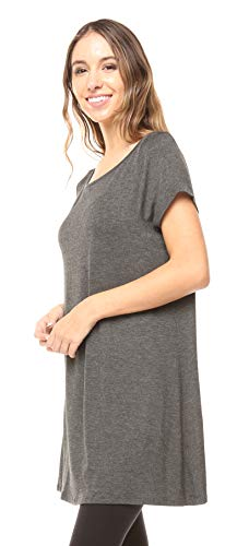 Free to Live Women's Long Flowy Short Sleeve or Sleeveless Tunic (XXL, Charcoal)