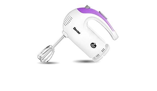 300W mezclador de la mano, 5 velocidades con el botón de Turbo, blanco / púrpura: Amazon.es