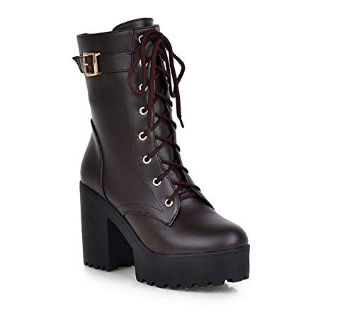 Women's Buckle Strap Block Heel Ankle Booties Chunky Heel Snow Boots(Dark Brown 38/7 B(M) US Women) ()