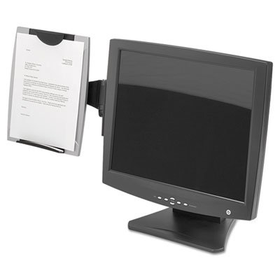 Office Suites Monitor Mount Copyholder, Plastic, Holds 150 Sheets, Black/Silver, Sold as 2 Each by Fellowes