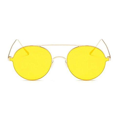 Amarillo Espejo Gafas Sin Plano Sol Amarillo De Harajuku Square Protección De QZ Borde Color Playa HOME UV Vintage Moda vf5IqwAMUx