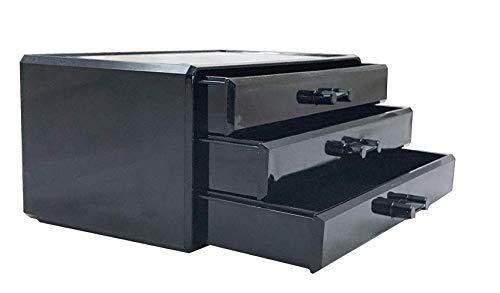 3 drawer Acrylic Lipstick Cosmetic Organizer, jewelry box organizer display storage case, Crystal and Unbroken jewelry box,Drawer Makeup Organizer (black)