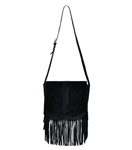 (ZLYC Women Bohemian Nubuck Leather Fringe Bag Pouch Tribal Tassel Cross Body Shoulder Bag, Black)