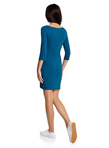 oodji Ultra Mujer Vestido de Punto con Estampado Azul (6C00P)