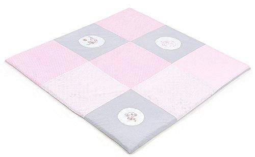 XXL XXL XXL Baby Krabbeldecke Spieldecke & Laufgittereinlage Patchworkdecke weich gepolstert und groß Mond Bär Lila (160 x 160 cm, Rosa) 38f188