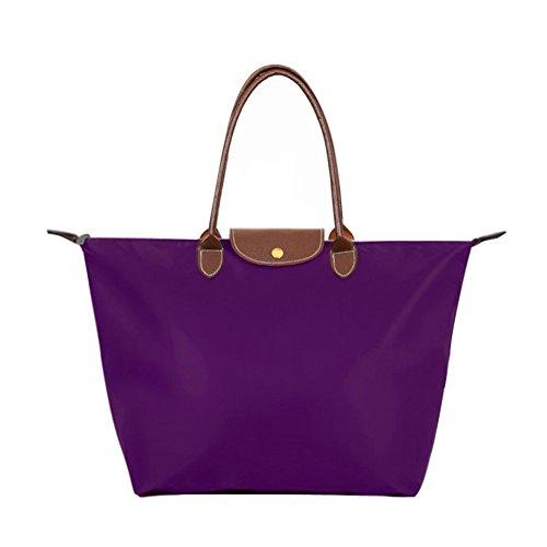 Waterproof Purple Women's Stylish Beach Nylon Tote Shoulder Bag Bags BEKILOLE Travel vgEwSqw