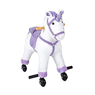 Kinbor Rocking Horse Plush Kids Baby Girls Boys Pony Rocking Horse Unicorn Ride on Toy Walking Horse Children's Day Birthday Gift with Wheels & Neigh Sound