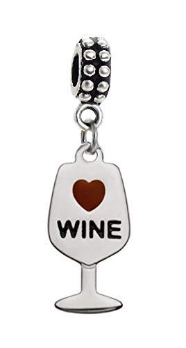 (J&M Dangle Wine Glass Charm for Bracelets)