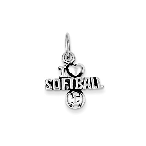 Sterling Silver Antique I (Heart) Softball Charm (17 x 18mm) (Sterling Softball Silver)