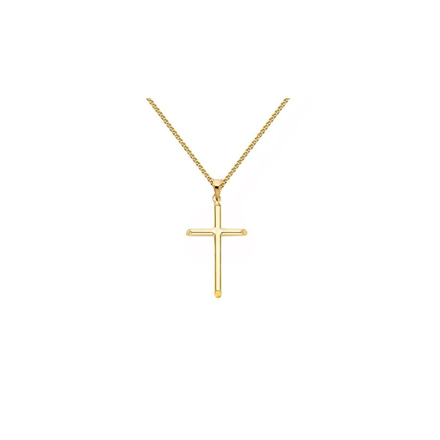 14k Yellow Gold Traditional Cross Religious Pendant with 1.5 mm Flat Wheat Chain