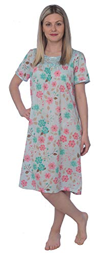 Women's Floral Print Short Sleeves Lace Chest Nightgown JR132 Aqua M