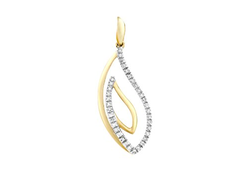 9ct or 2couleurs Diamant Swirl Pendentif