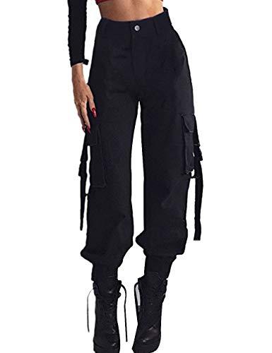 XXXITICAT Women's High Waist Adjustable Long Pants Loose Elastic Cargo Fashion Streetwear Pencil Slim Trousers(BL3.S) from XXXITICAT