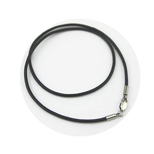 Glory Qin Black Genuine Leather Rope Chain Stainless Steel Squared Lobster Clasp Leather Cord Chain Necklace Rope (2.0 mm, 20 Inches) Black Leather Rope Necklace
