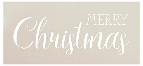 Merry Christmas Stencil by StudioR12 | Trendy Rustic Script Word Art - Reusable Mylar Template | Painting, Chalk, Mixed Media | Use for Crafting, DIY Home Decor - STCL1397 ... SELECT SIZE (9