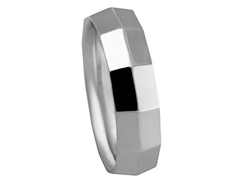 Men's 18K WHITE GOLD KNIFE EDGE BOX CUT 6mm COMFORT FIT WEDDING BAND size 6