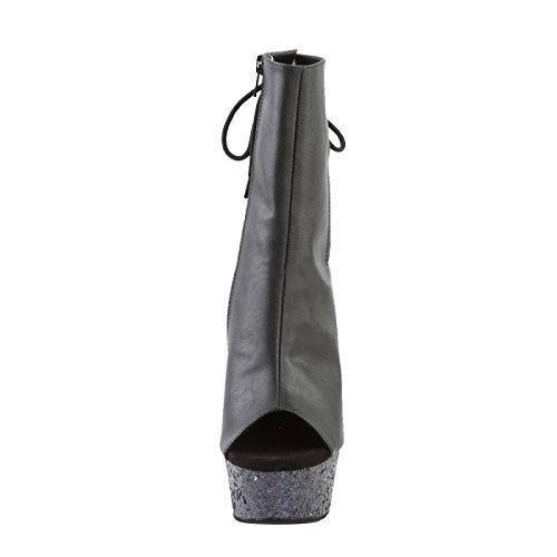 Pleaser Plateau/Absatz Stiefelette mit Multi-Glitzer in Schwarz mit Reißverschluss und Schnürung, Vegan DELIGHT-1018LG