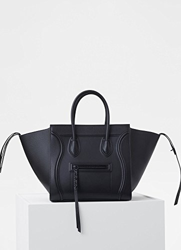 CELINE Big Leather Nano Luggage Shoulder Handbag … (black)