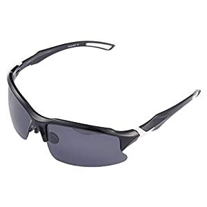 Br'Guras 400 UV Protection Designer Sunglasses, Polarized Sunglasses with Unbreakable Frame, Sports Sunglasses for Mens Womens Driving Baseball Running Cycling Fishing Golf Black & White