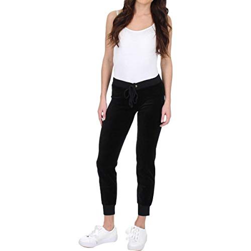 Juicy Couture Black Label Women's Velour Zuma II Track Pant, Pitch Black, L (Xl Black Label)