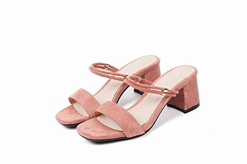 Carolbar Women's Solid Color Concise Block Mid Heel Fashion Sandals Pink ZdRb6G9