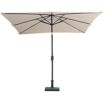 U201cJardin Du Sudu201d 9u0027 X 7u0027 Rectangular Patio Umbrella Market Umbrella With  Push Button Auto Tilt And Crank, 220GSM Fade Resistant Canopy U2013 Bring Shade  And ...