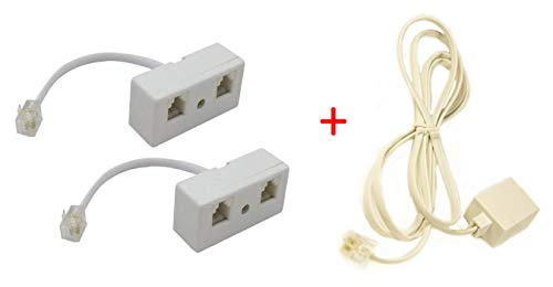 Two Way Telephone Splitter Y Adapter + Extender Long Cable, RJ11 6P4C Male to 2 Female Converter Cable for Telephone Wall Adaptor and Separator For Landline Telephones or Fax Machine