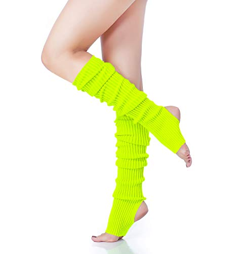 V28 Women's Neon Knit Leg Warmer for 80s Party Dance Sports Yoga (61-Flu)]()