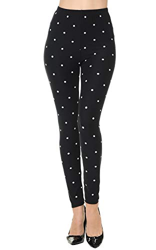 VIV Collection Regular Size Printed Brushed Leggings (Snowdots) (Multi Colored Dots Polka)