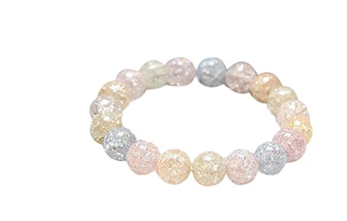 Wening Glass Round Beaded Popcorn Crackle Bracelet Healing Energy Balance Reiki Natural Gemstones (Yang Gemstone)