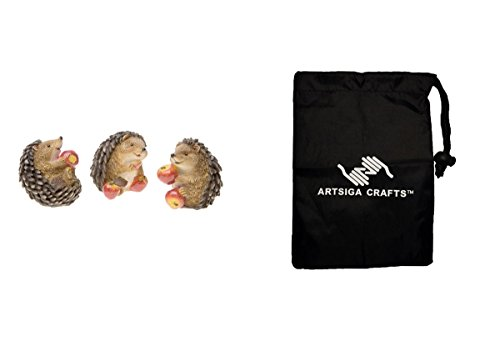 Darice Fairy Garden Miniatures Animal Statue Hedgehog 4 Piece Set Resin 2in. 1Pc (8 Pack) 30023375 Bundle with 1 Artsiga Crafts Small Bag