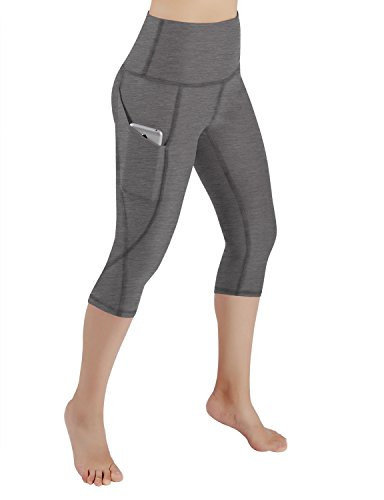 ODODOS High Waist Out Pocket Yoga Capris Pants Tummy Control Workout Running 4 Way Stretch Yoga Capris Leggings,Gray,Large