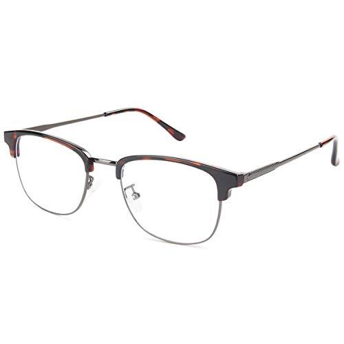 Livho Computer Blue Light Blocking Glasses with Retro Hard Metal Frame Eyeglasses for Women/Men - 0.0 Magnification LI1793-01